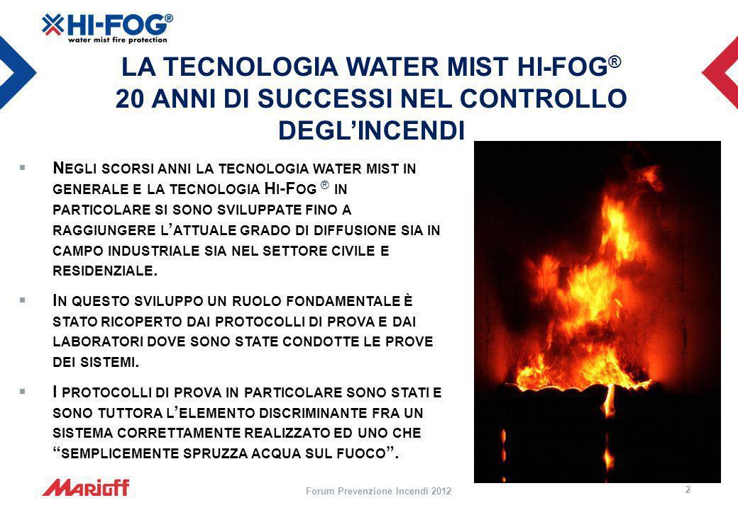 LA TECNOLOGIA WATER MIST HI-FOG ® 20 ANNI DI SUCCESSI NEL CONTROLLO DEGLINCENDI N EGLI SCORSI ANNI LA TECNOLOGIA WATER MIST IN GENERALE E LA TECNOLOGI