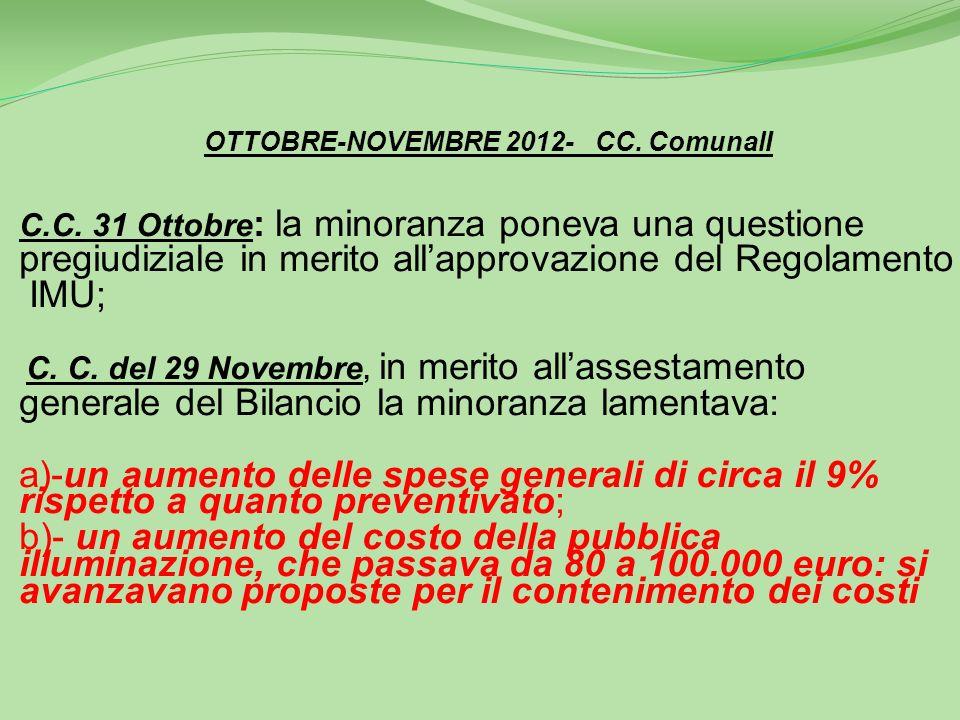 OTTOBRE-NOVEMBRE 2012- CC.ComunalI C.C.