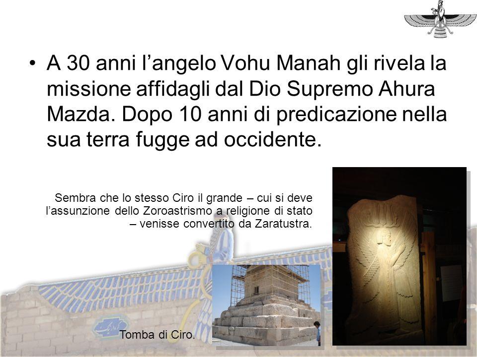 A 30 anni langelo Vohu Manah gli rivela la missione affidagli dal Dio Supremo Ahura Mazda. Dopo 10 anni di predicazione nella sua terra fugge ad occid