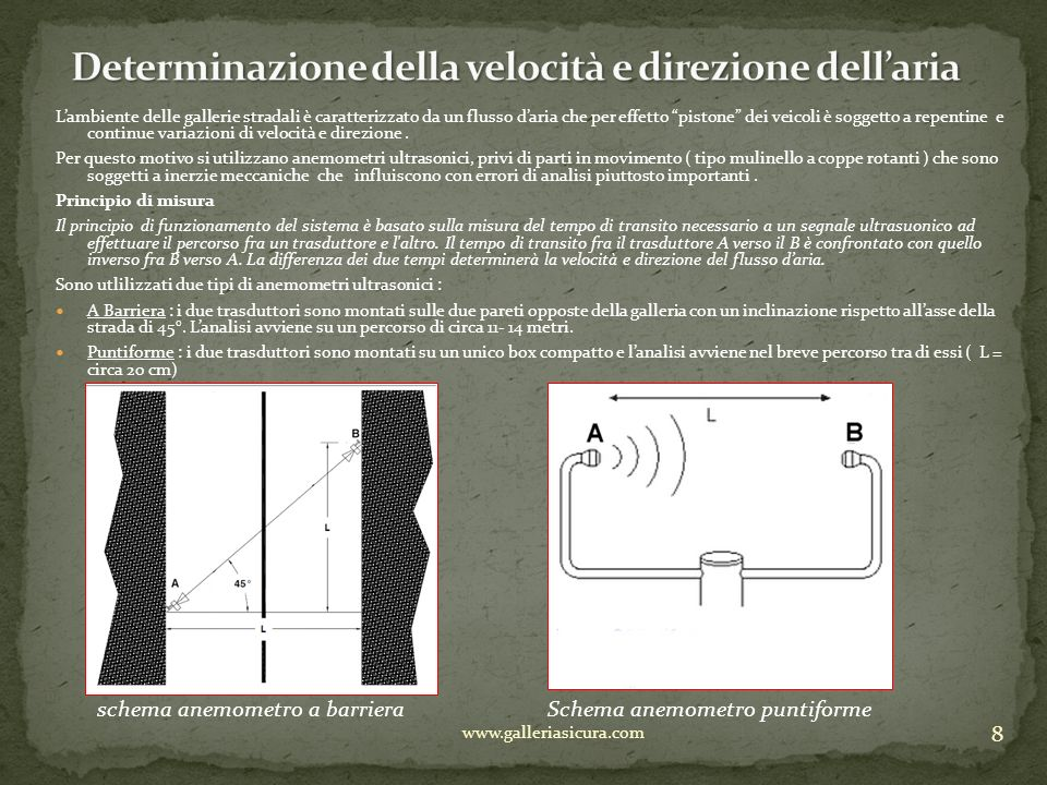 9 www.galleriasicura.com Ovviamente il I° sistema è più rappresentativo nella misura poiché analizza tutti i profili di velocità che compongono il flusso daria nella galleria.