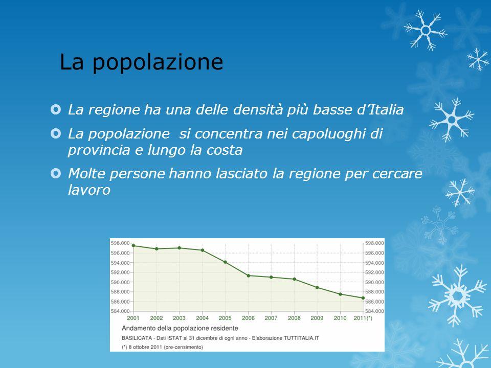 La popolazione La regione ha una delle densità più basse dItalia La popolazione si concentra nei capoluoghi di provincia e lungo la costa Molte person
