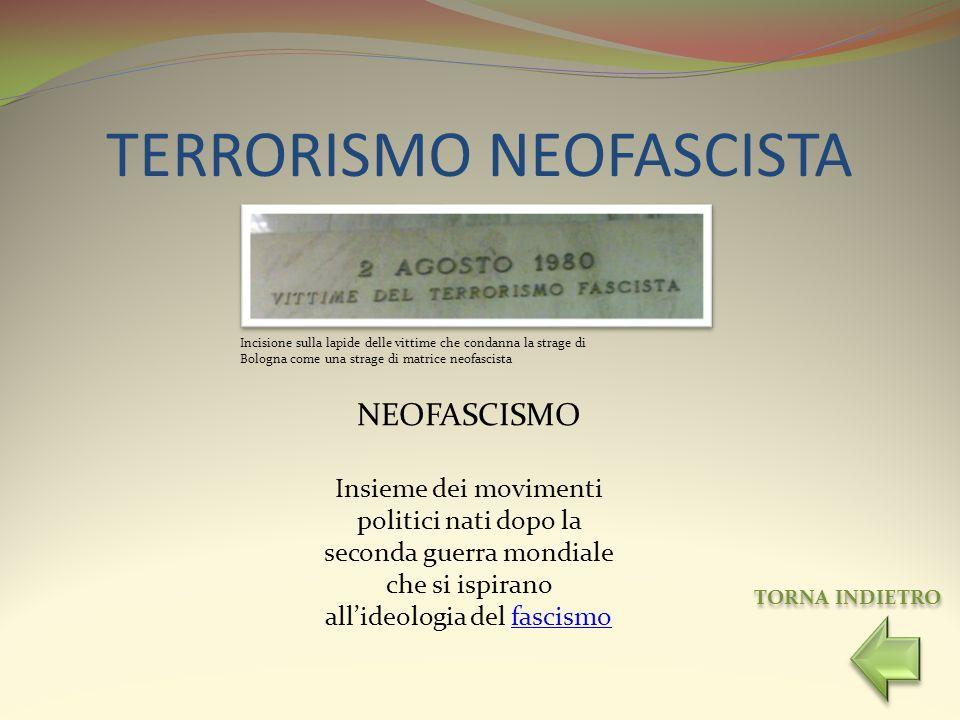 TERRORISMO NEOFASCISTA Incisione sulla lapide delle vittime che condanna la strage di Bologna come una strage di matrice neofascista TORNA INDIETRO NE