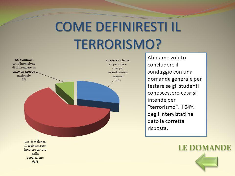 COME DEFINIRESTI IL TERRORISMO? Abbiamo voluto concludere il sondaggio con una domanda generale per testare se gli studenti conoscessero cosa si inten