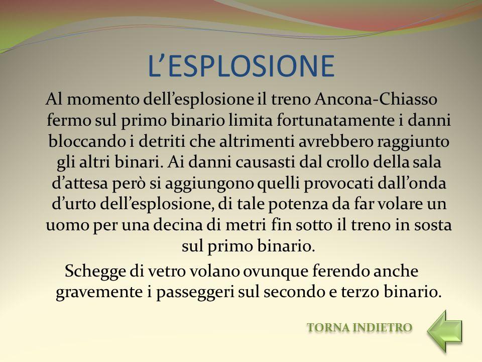 LESPLOSIONE Al momento dellesplosione il treno Ancona-Chiasso fermo sul primo binario limita fortunatamente i danni bloccando i detriti che altrimenti