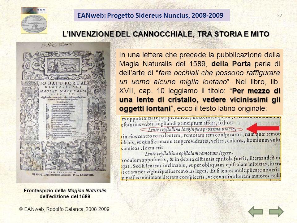 EANweb: Progetto Sidereus Nuncius, 2008-2009 © EANweb, Rodolfo Calanca, 2008-2009 LINVENZIONE DEL CANNOCCHIALE, TRA STORIA E MITO Frontespizio della M