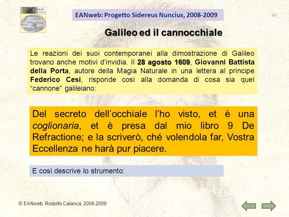 EANweb: Progetto Sidereus Nuncius, 2008-2009 Galileo ed il cannocchiale © EANweb, Rodolfo Calanca, 2008-2009 28 agosto 1609 Le reazioni dei suoi contemporanei alla dimostrazione di Galileo trovano anche motivi dinvidia.