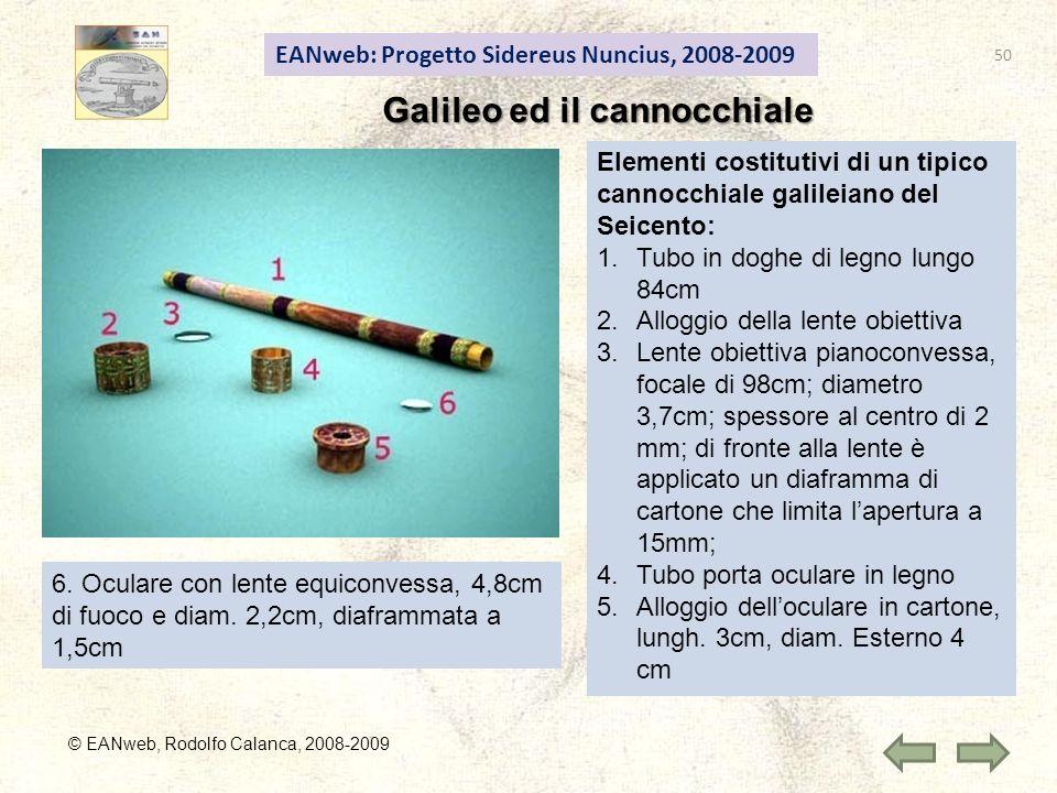 EANweb: Progetto Sidereus Nuncius, 2008-2009 Galileo ed il cannocchiale © EANweb, Rodolfo Calanca, 2008-2009 Elementi costitutivi di un tipico cannocchiale galileiano del Seicento: 1.Tubo in doghe di legno lungo 84cm 2.Alloggio della lente obiettiva 3.Lente obiettiva pianoconvessa, focale di 98cm; diametro 3,7cm; spessore al centro di 2 mm; di fronte alla lente è applicato un diaframma di cartone che limita lapertura a 15mm; 4.Tubo porta oculare in legno 5.Alloggio delloculare in cartone, lungh.