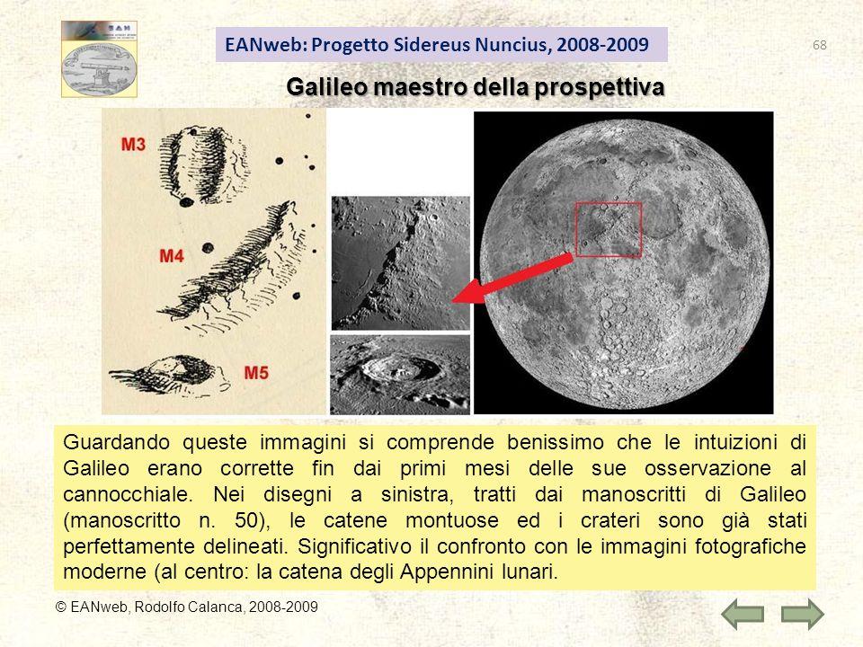 EANweb: Progetto Sidereus Nuncius, 2008-2009 © EANweb, Rodolfo Calanca, 2008-2009 Galileo maestro della prospettiva Guardando queste immagini si comprende benissimo che le intuizioni di Galileo erano corrette fin dai primi mesi delle sue osservazione al cannocchiale.