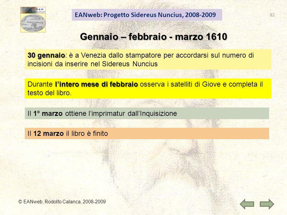 EANweb: Progetto Sidereus Nuncius, 2008-2009 © EANweb, Rodolfo Calanca, 2008-2009 Gennaio – febbraio - marzo 1610 30 gennaio 30 gennaio: è a Venezia d