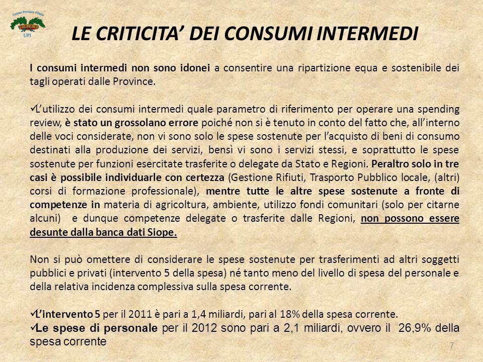7 I consumi intermedi non sono idonei a consentire una ripartizione equa e sostenibile dei tagli operati dalle Province.