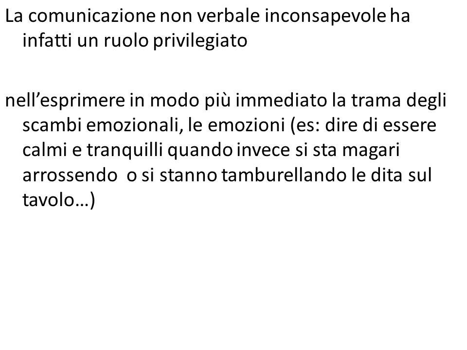 La comunicazione non verbale inconsapevole ha infatti un ruolo privilegiato nellesprimere in modo più immediato la trama degli scambi emozionali, le e