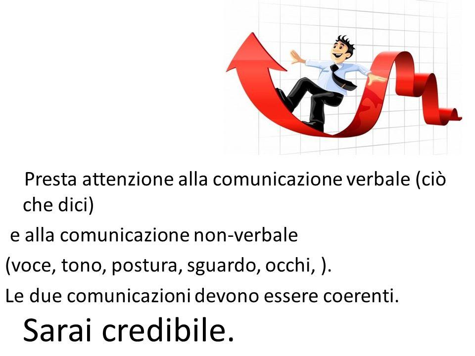 Presta attenzione alla comunicazione verbale (ciò che dici) e alla comunicazione non-verbale (voce, tono, postura, sguardo, occhi, ). Le due comunicaz