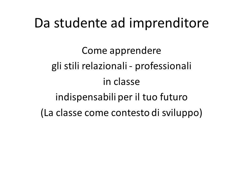 Da studente ad imprenditore Come apprendere gli stili relazionali - professionali in classe indispensabili per il tuo futuro (La classe come contesto