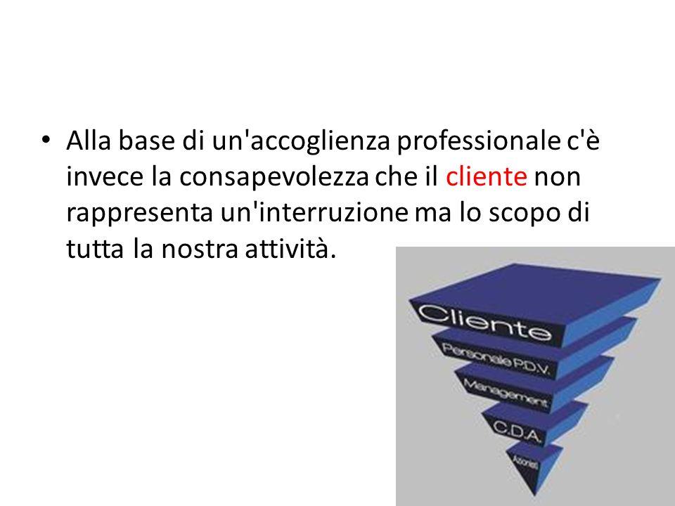 Alla base di un'accoglienza professionale c'è invece la consapevolezza che il cliente non rappresenta un'interruzione ma lo scopo di tutta la nostra a