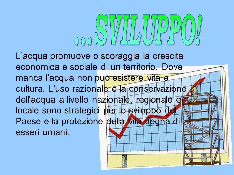 Lacqua promuove o scoraggia la crescita economica e sociale di un territorio. Dove manca lacqua non può esistere vita e cultura. L'uso razionale e la