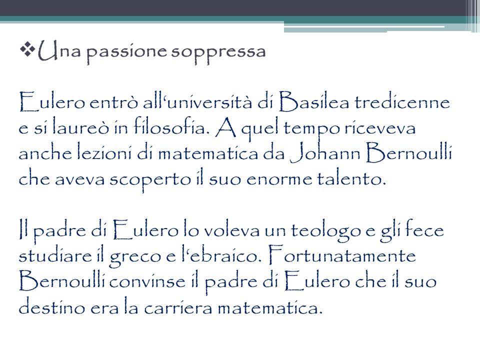 Una passione soppressa Eulero entrò alluniversità di Basilea tredicenne e si laureò in filosofia. A quel tempo riceveva anche lezioni di matematica da