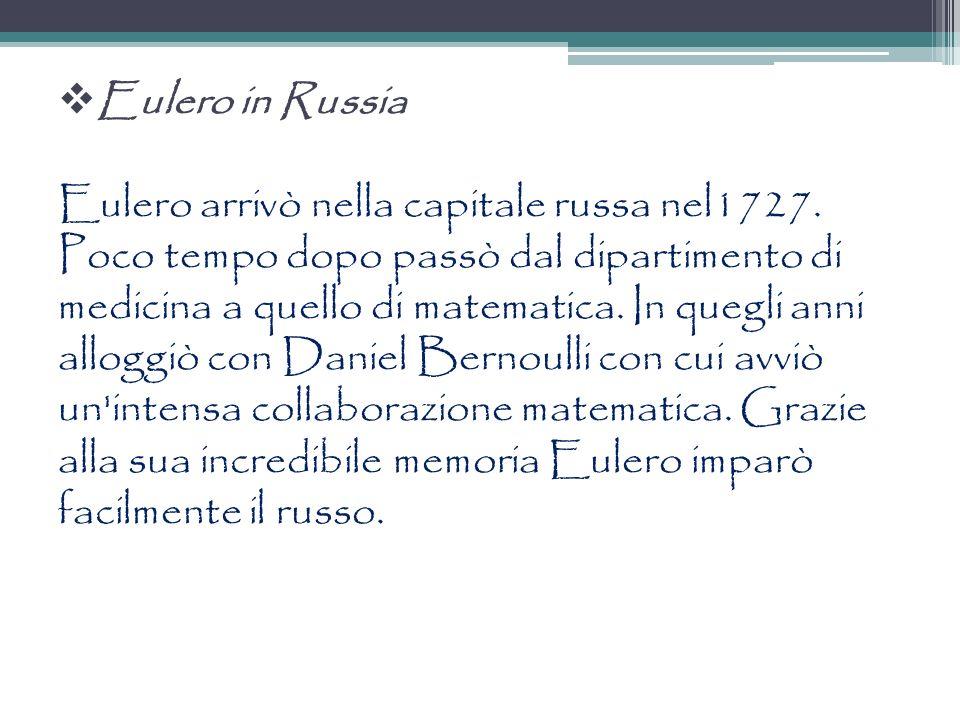 La cattedra in medicina Successivamente i due figli di Johann Bernoulli, Daniel e Nicolas lavoravano allAccademia Imperiale Delle Scienze di San Pietroburgo.
