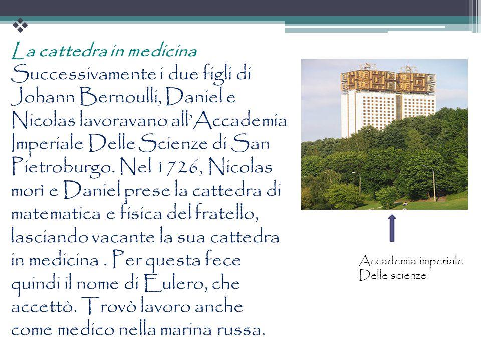 La cattedra in medicina Successivamente i due figli di Johann Bernoulli, Daniel e Nicolas lavoravano allAccademia Imperiale Delle Scienze di San Pietr