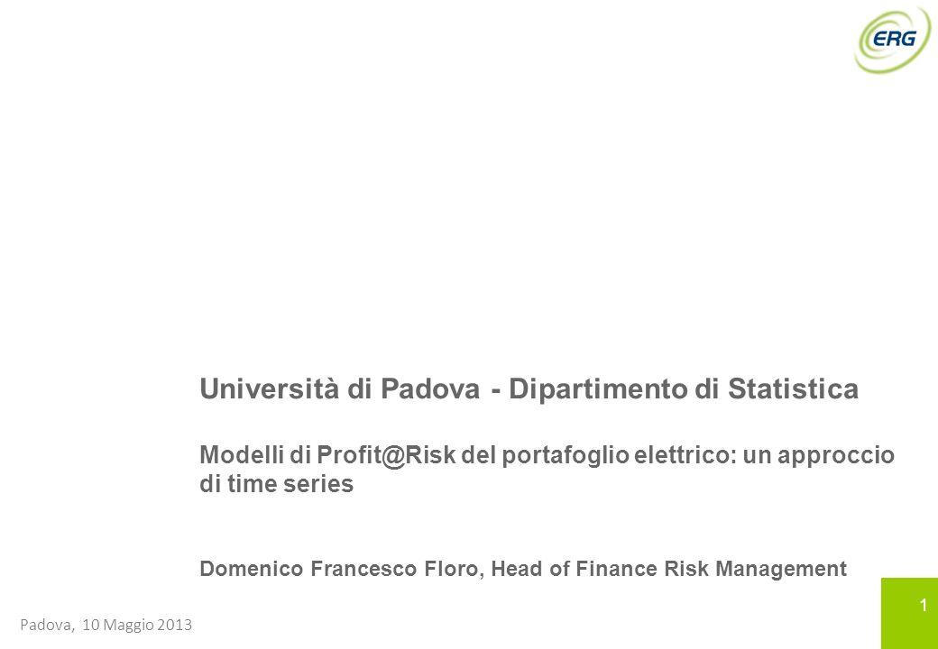 11 Padova, 10 Maggio 2013 Università di Padova - Dipartimento di Statistica Modelli di Profit@Risk del portafoglio elettrico: un approccio di time ser