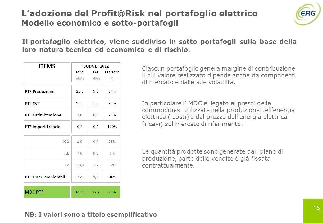 15 Ladozione del Profit@Risk nel portafoglio elettrico Modello economico e sotto-portafogli Il portafoglio elettrico, viene suddiviso in sotto-portafo