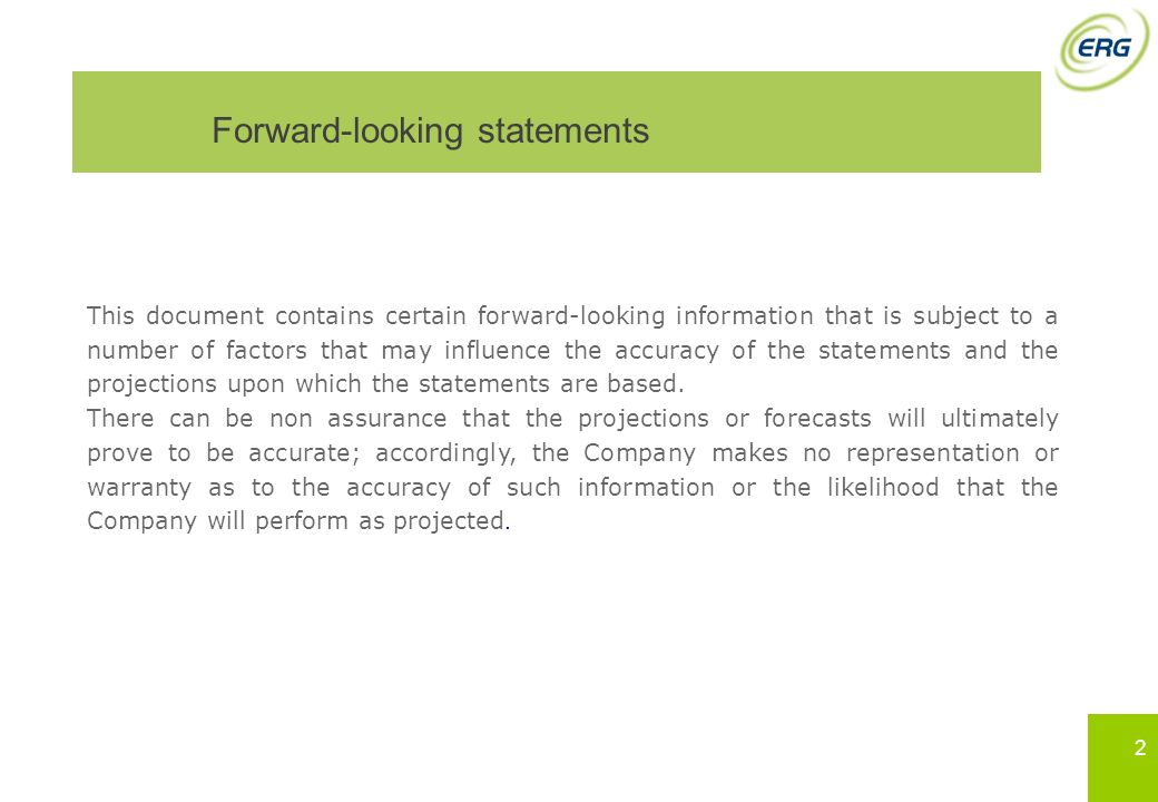 Forward-looking statements This document contains certain forward-looking information that is subject to a number of factors that may influence the ac