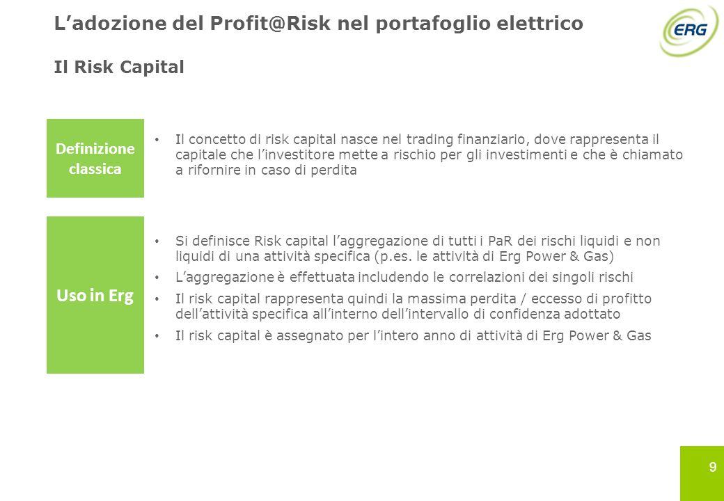 9 Il Risk Capital Il concetto di risk capital nasce nel trading finanziario, dove rappresenta il capitale che linvestitore mette a rischio per gli inv