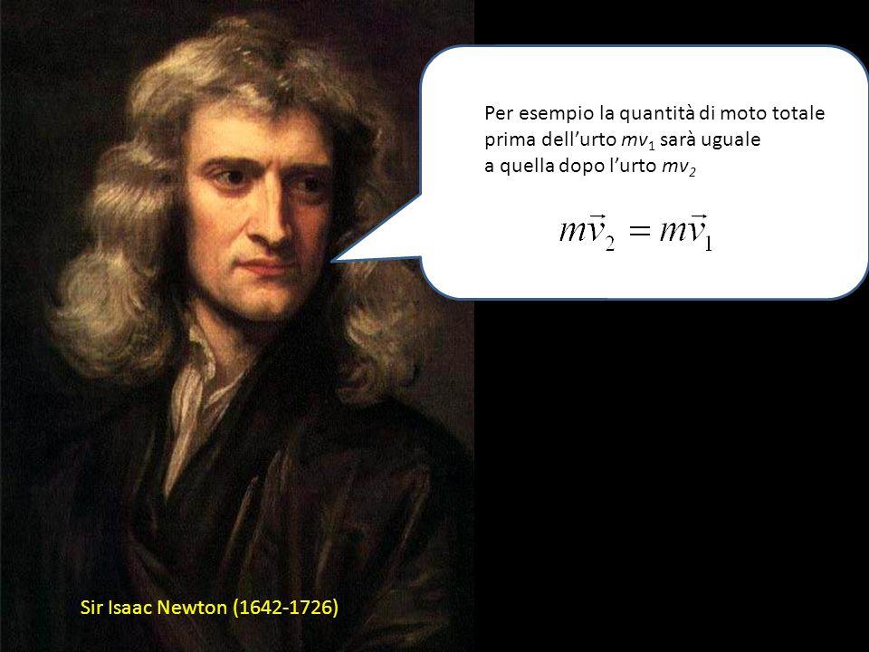 Sir Isaac Newton (1642-1726) Ma se la forza è nulla: La quantità di moto si conserva: a cura di Sandro Ronca