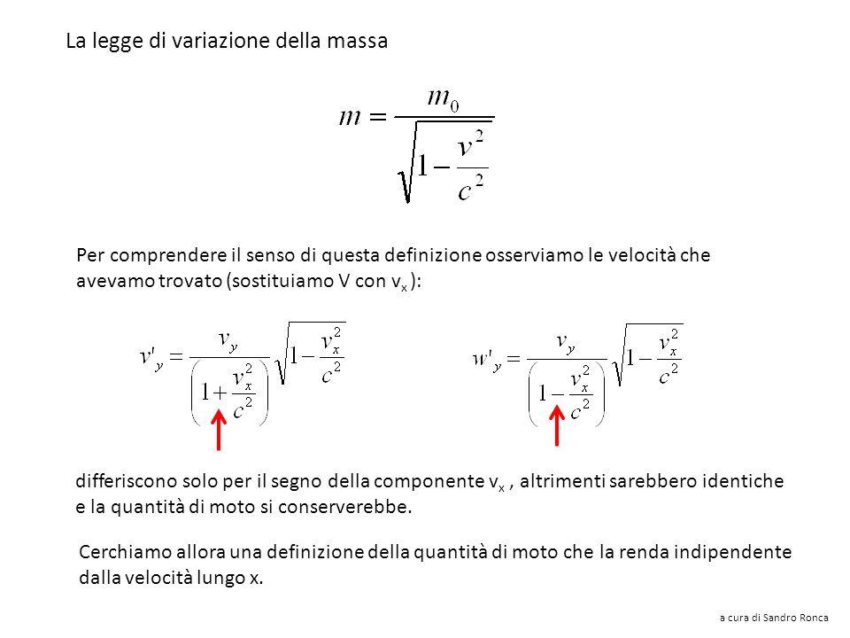 Trovai che una buona legge di variazione della massa era questa: a cura di Sandro Ronca