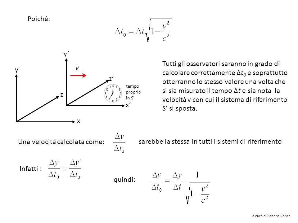 Una componente di velocità perpendicolare al moto del sistema (lungo x) è data: Infatti la componente di velocità lungo x compare a causa della trasfo
