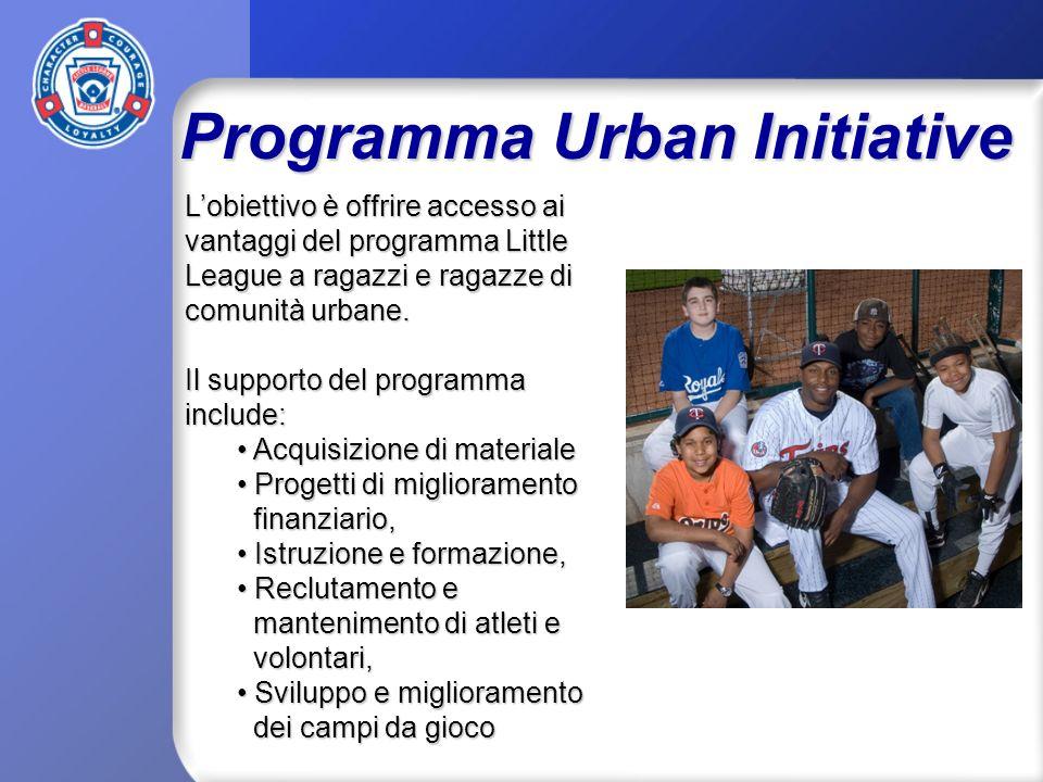 Programma Urban Initiative Lobiettivo è offrire accesso ai vantaggi del programma Little League a ragazzi e ragazze di comunità urbane.