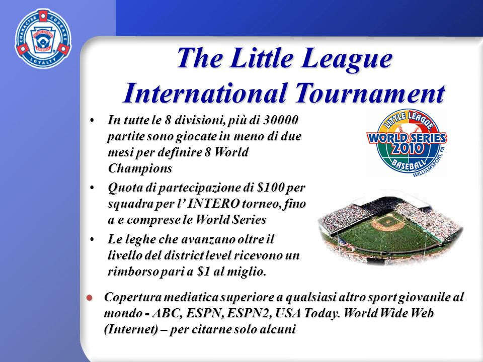 The Little League International Tournament In tutte le 8 divisioni, più di 30000 partite sono giocate in meno di due mesi per definire 8 World Champio
