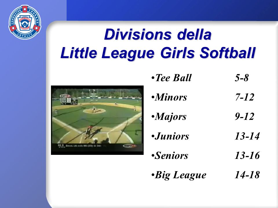 Divisions della Little League Girls Softball Tee Ball5-8 Minors 7-12 Majors9-12 Juniors13-14 Seniors13-16 Big League14-18