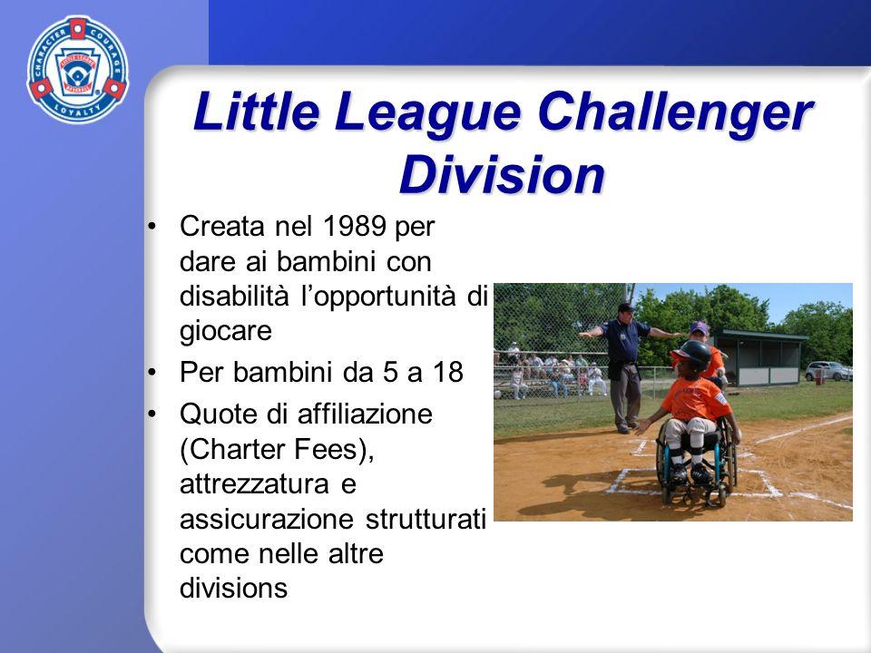 Little League Challenger Division Creata nel 1989 per dare ai bambini con disabilità lopportunità di giocare Per bambini da 5 a 18 Quote di affiliazione (Charter Fees), attrezzatura e assicurazione strutturati come nelle altre divisions
