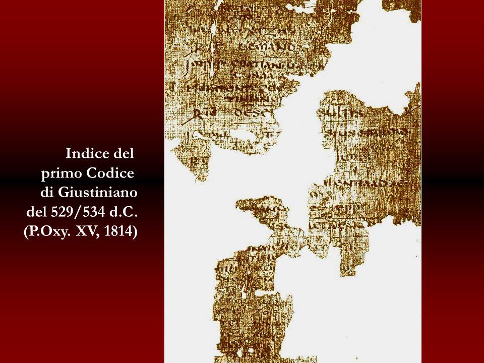 Indice del primo Codice di Giustiniano del 529/534 d.C. (P.Oxy. XV, 1814)