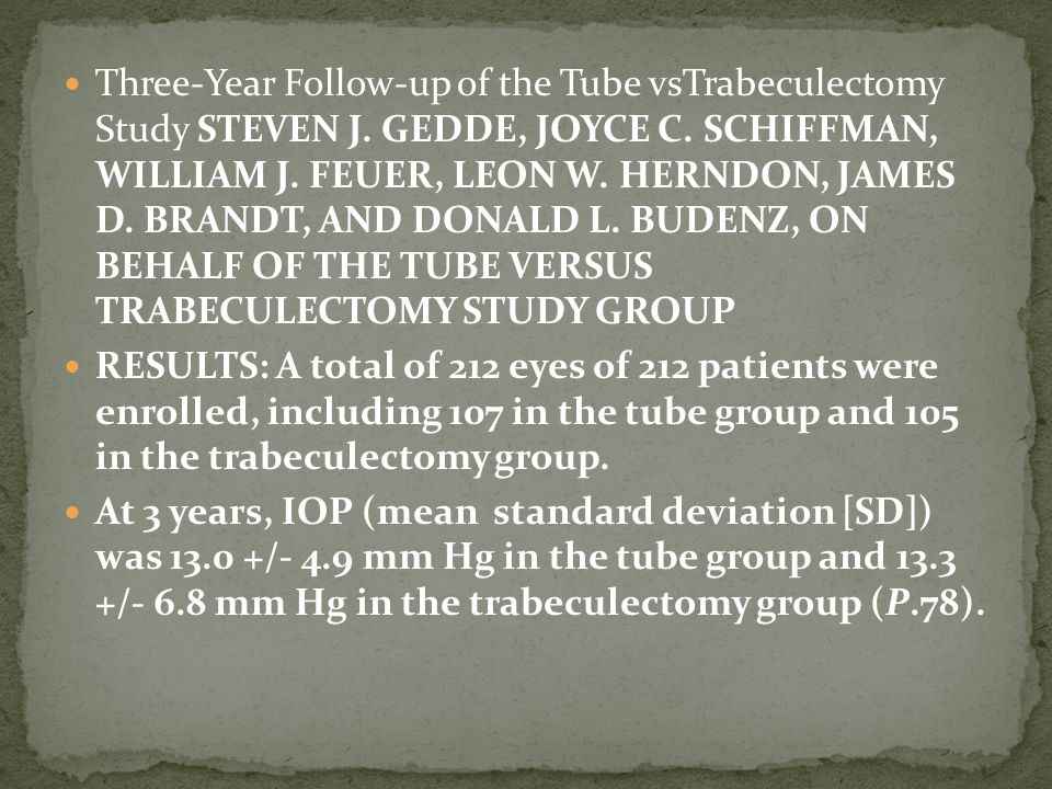 The cumulative probability of failure during the first 3 years of follow-up was 15.1% in the tube group and 30.7% in the trabeculectomy group (P.010; Tube shunt surgery had a higher success rate compared to trabeculectomy withMMCduring the first 3 years of follow-up in the TVT Study.