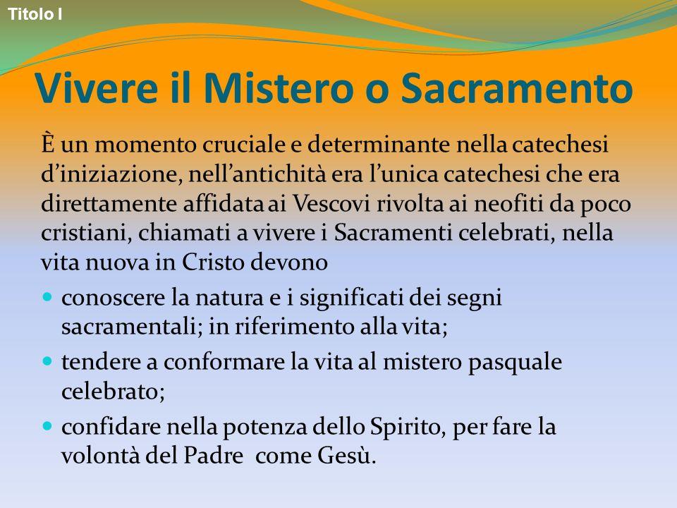 Vivere il Mistero o Sacramento È un momento cruciale e determinante nella catechesi diniziazione, nellantichità era lunica catechesi che era direttame