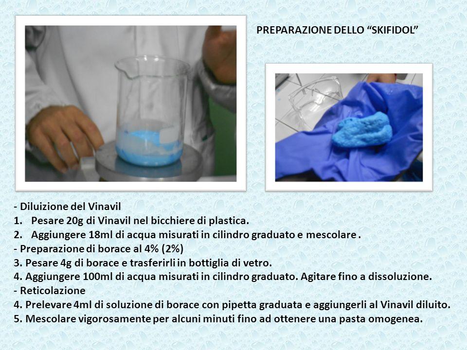 - Diluizione del Vinavil 1.Pesare 20g di Vinavil nel bicchiere di plastica. 2.Aggiungere 18ml di acqua misurati in cilindro graduato e mescolare. - Pr