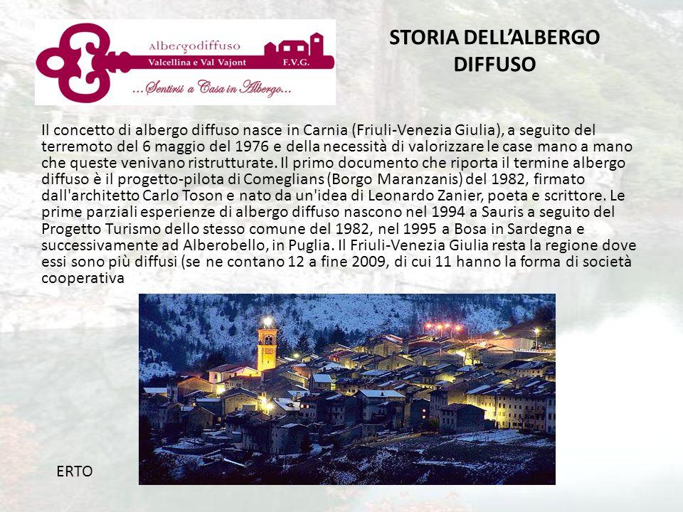 Il concetto di albergo diffuso nasce in Carnia (Friuli-Venezia Giulia), a seguito del terremoto del 6 maggio del 1976 e della necessità di valorizzare le case mano a mano che queste venivano ristrutturate.