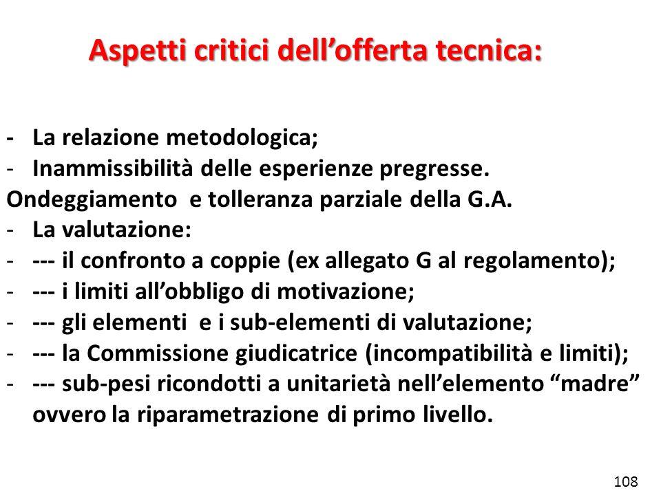 Aspetti critici dellofferta tecnica: -La relazione metodologica; -Inammissibilità delle esperienze pregresse. Ondeggiamento e tolleranza parziale dell