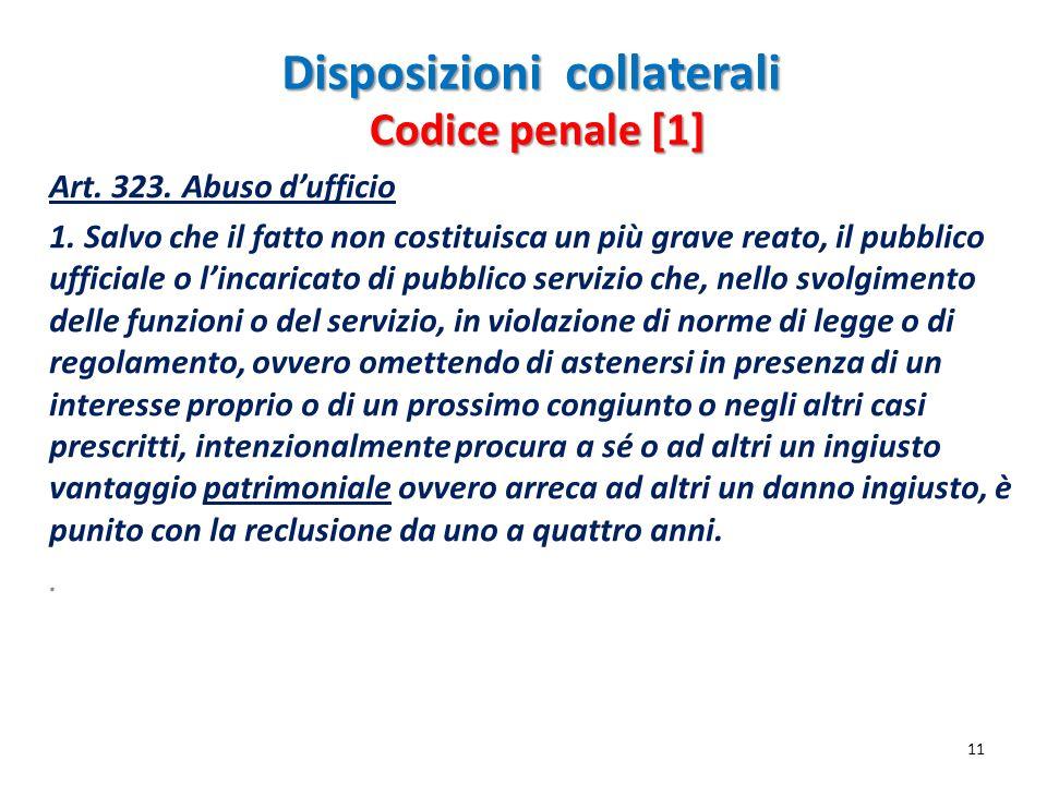 Disposizioni collaterali Art. 323. Abuso dufficio 1. Salvo che il fatto non costituisca un più grave reato, il pubblico ufficiale o lincaricato di pub