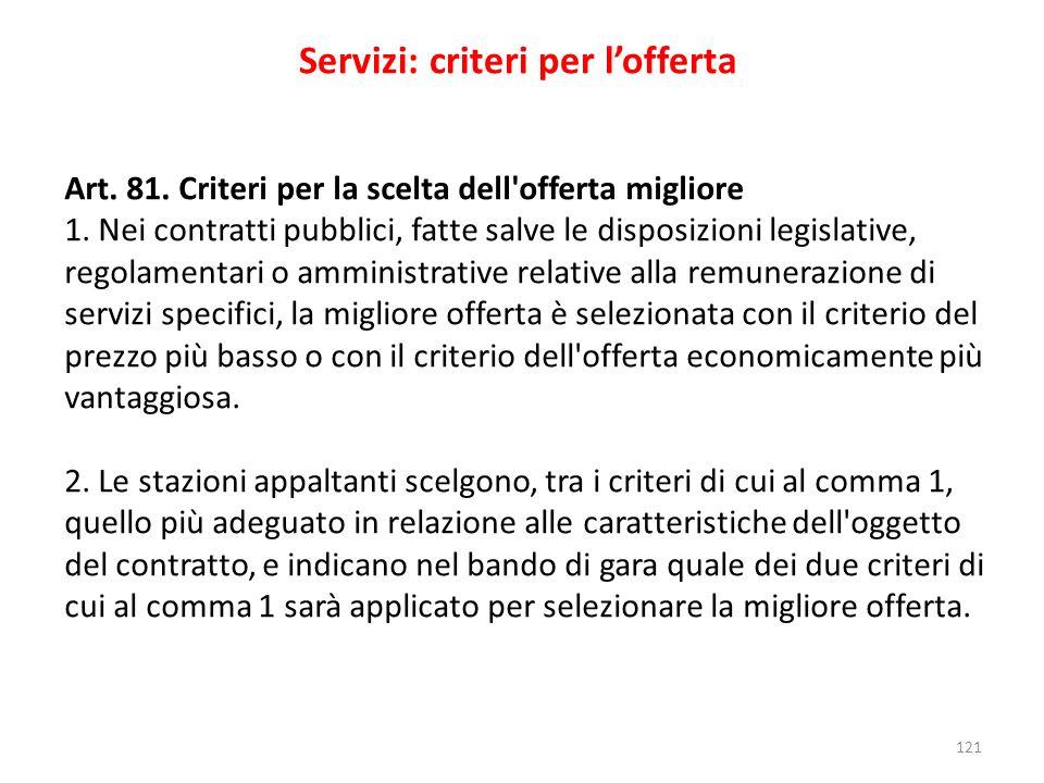 121 Servizi: criteri per lofferta Art. 81. Criteri per la scelta dell'offerta migliore 1. Nei contratti pubblici, fatte salve le disposizioni legislat
