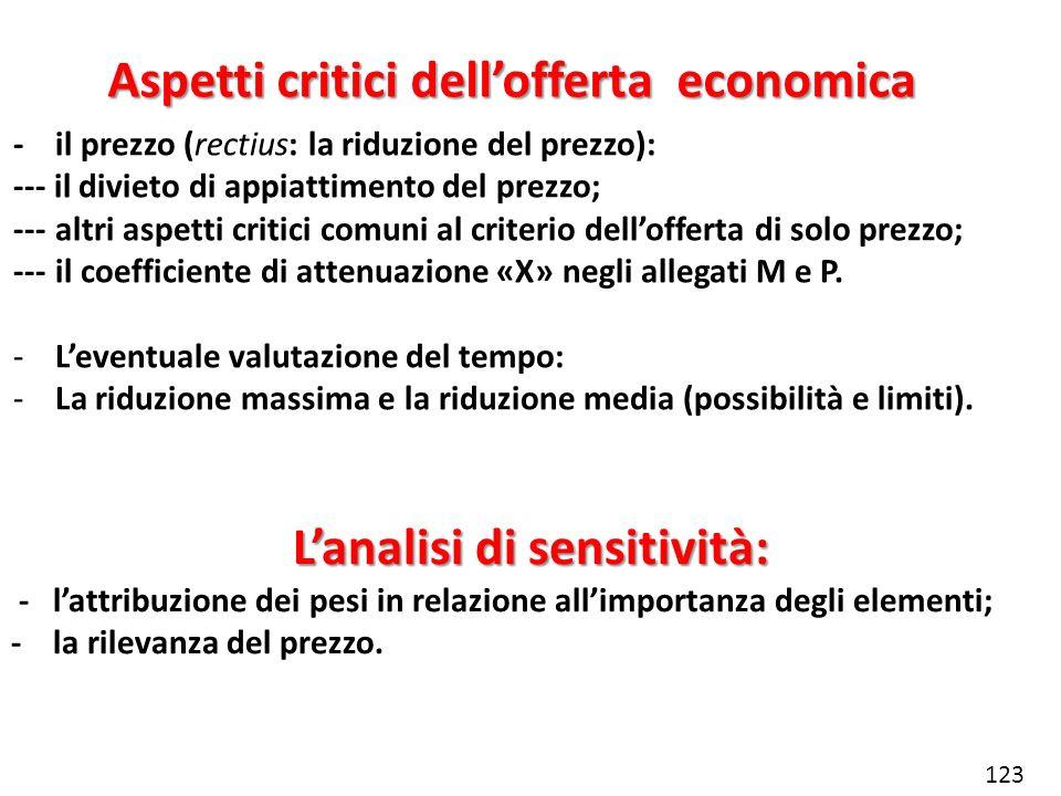 Aspetti critici dellofferta economica -il prezzo (rectius: la riduzione del prezzo): --- il divieto di appiattimento del prezzo; ---altri aspetti crit