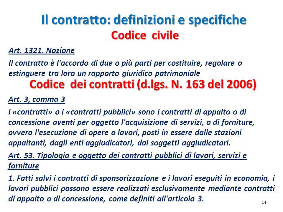 Il contratto: definizioni e specifiche Art. 3, comma 3 I «contratti» o i «contratti pubblici» sono i contratti di appalto o di concessione aventi per