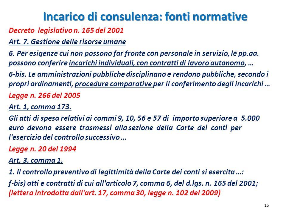Incarico di consulenza: fonti normative 16 Decreto legislativo n. 165 del 2001 Art. 7. Gestione delle risorse umane 6. Per esigenze cui non possono fa