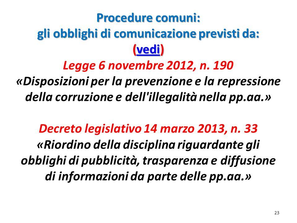 Procedure comuni: gli obblighi di comunicazione previsti da: (vedi) Procedure comuni: gli obblighi di comunicazione previsti da: (vedi) Legge 6 novemb