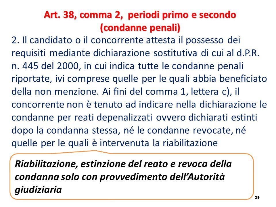 2. Il candidato o il concorrente attesta il possesso dei requisiti mediante dichiarazione sostitutiva di cui al d.P.R. n. 445 del 2000, in cui indica