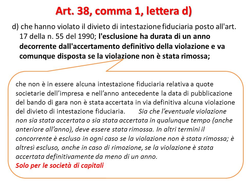 d) che hanno violato il divieto di intestazione fiduciaria posto all'art. 17 della n. 55 del 1990; l'esclusione ha durata di un anno decorrente dall'a
