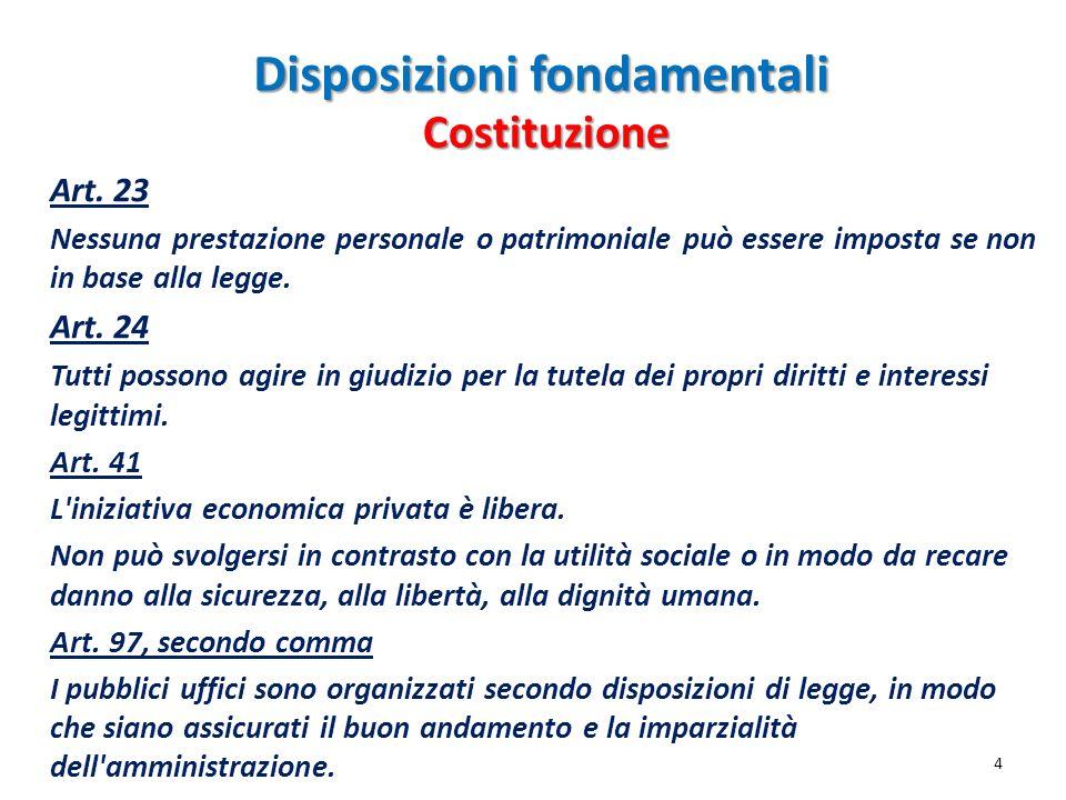 Disposizioni fondamentali Art. 23 Nessuna prestazione personale o patrimoniale può essere imposta se non in base alla legge. Art. 24 Tutti possono agi