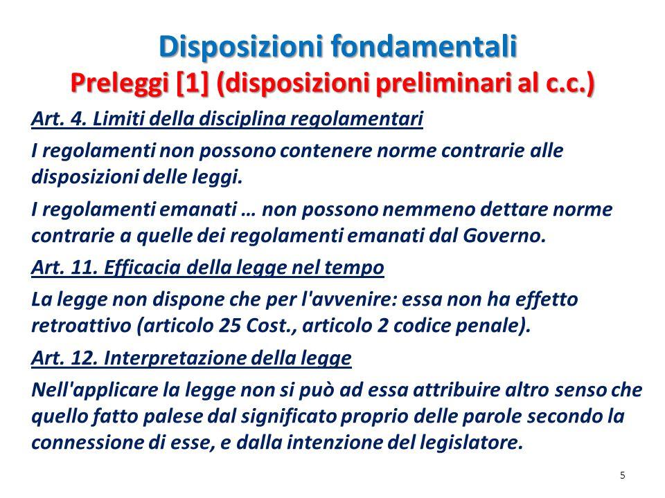 Disposizioni fondamentali Art. 4. Limiti della disciplina regolamentari I regolamenti non possono contenere norme contrarie alle disposizioni delle le