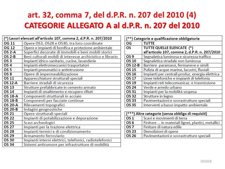 art. 32, comma 7, del d.P.R. n. 207 del 2010 (4) CATEGORIE ALLEGATO A al d.P.R. n. 207 del 2010 565656